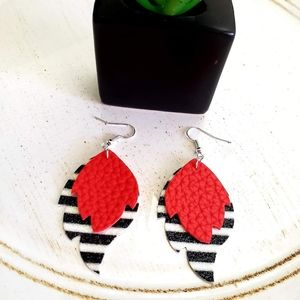 Leaf faux leather earrings!